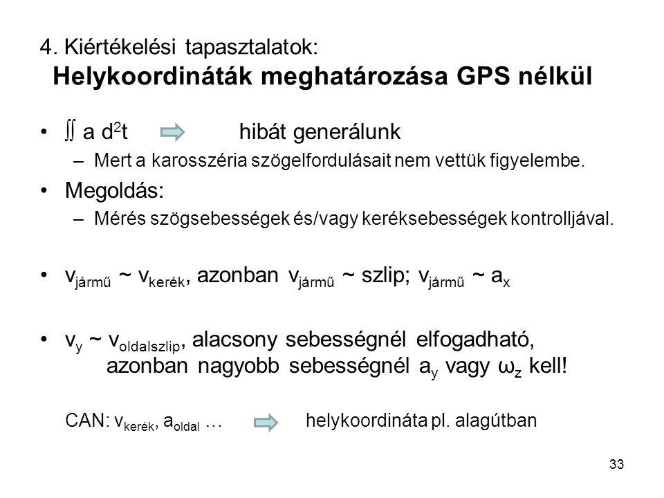 4. Kiértékelési tapasztalatok: Helykoordináták meghatározása GPS nélkül ∫∫ a d 2 thibát generálunk –Mert a karosszéria szögelfordulásait nem vettük fi