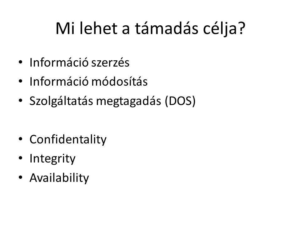 Mi lehet a támadás célja? Információ szerzés Információ módosítás Szolgáltatás megtagadás (DOS) Confidentality Integrity Availability