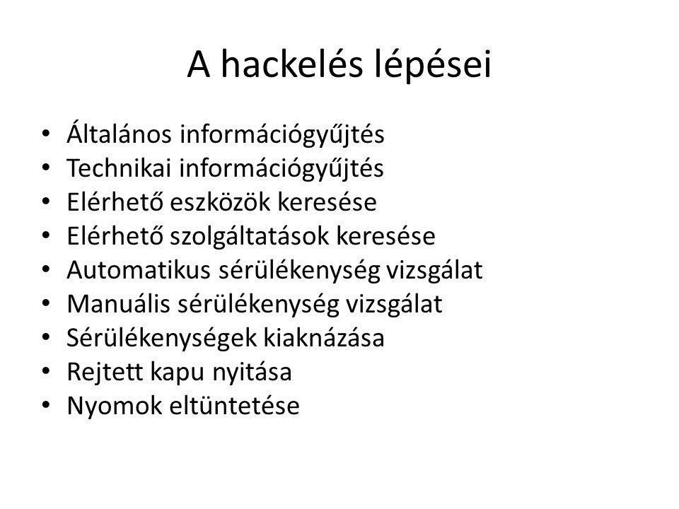 A hackelés lépései Általános információgyűjtés Technikai információgyűjtés Elérhető eszközök keresése Elérhető szolgáltatások keresése Automatikus sér