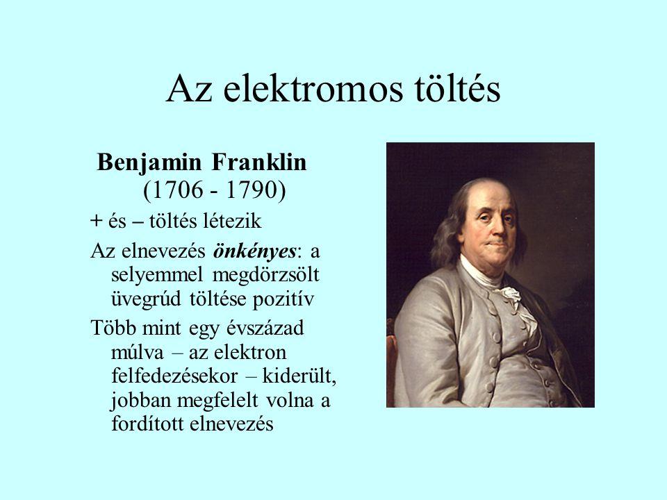 Az elektromos töltés Benjamin Franklin (1706 - 1790) + és – töltés létezik Az elnevezés önkényes: a selyemmel megdörzsölt üvegrúd töltése pozitív Több mint egy évszázad múlva – az elektron felfedezésekor – kiderült, jobban megfelelt volna a fordított elnevezés