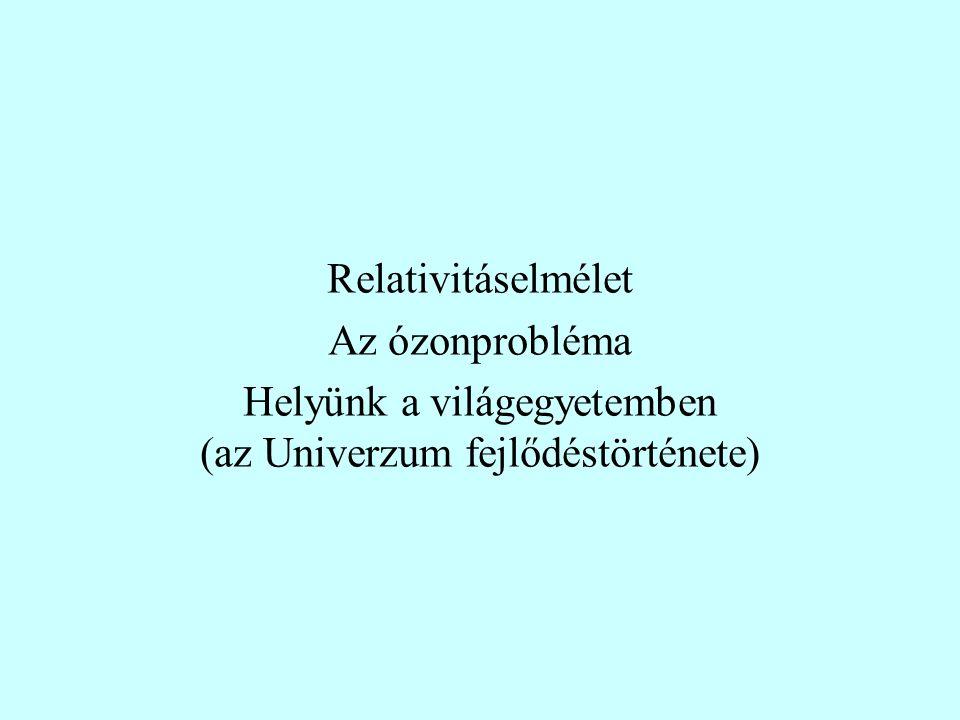 Relativitáselmélet Az ózonprobléma Helyünk a világegyetemben (az Univerzum fejlődéstörténete)