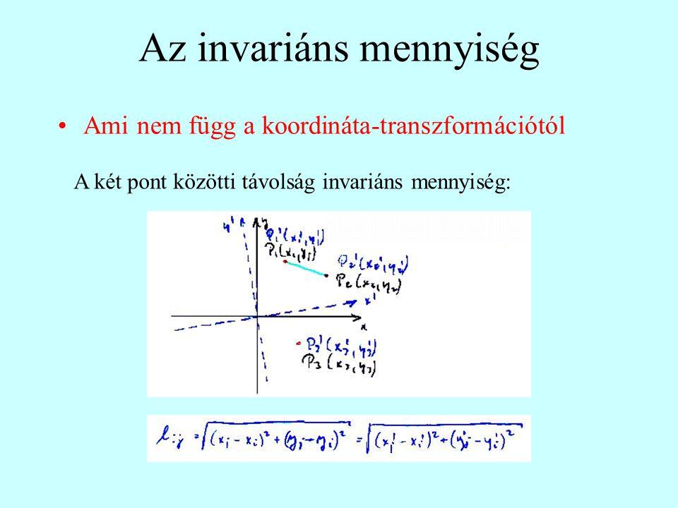 Az invariáns mennyiség Ami nem függ a koordináta-transzformációtól A két pont közötti távolság invariáns mennyiség: