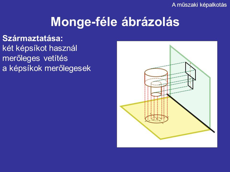 Monge-féle ábrázolás Származtatása: két képsíkot használ merőleges vetítés a képsíkok merőlegesek A műszaki képalkotás