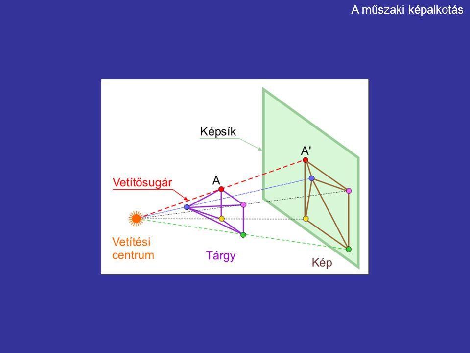 Monge-féle ábrázolás Jellemzői: oldal és felülnézet torzulásmentes méretleolvasásra, szerkesztésre alkalmas a tárgyat két képpel adja meg Alkalmazási területe: géprajz A műszaki képalkotás