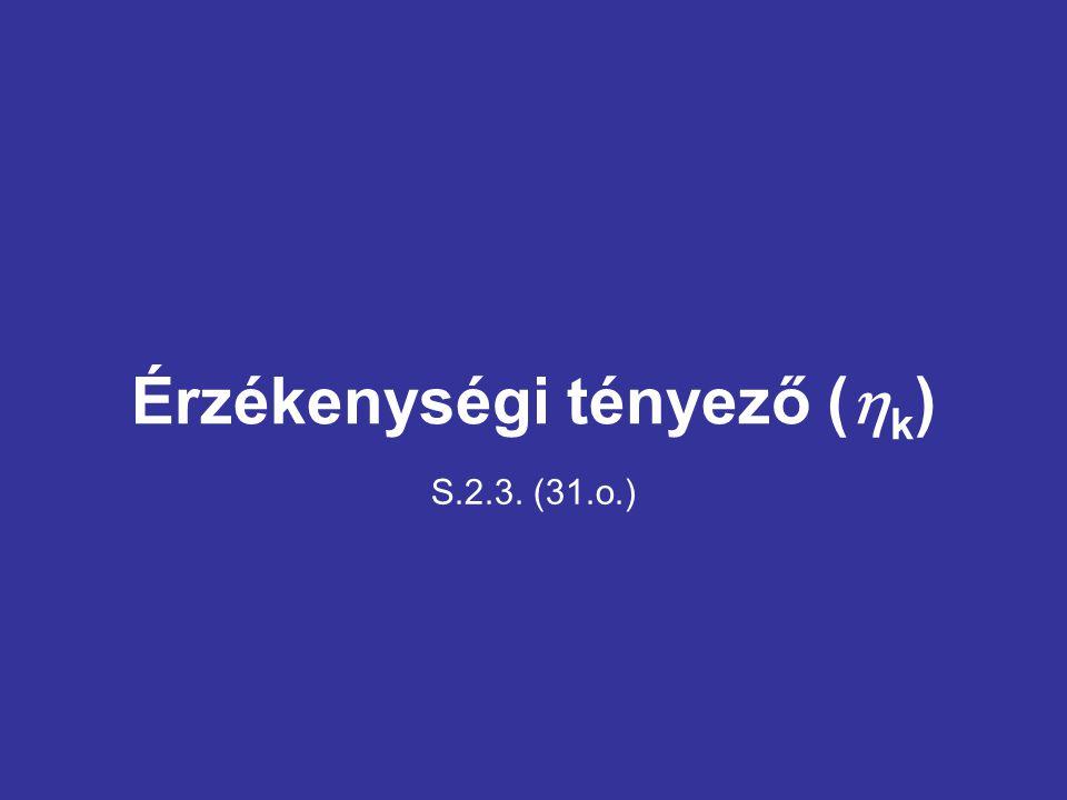 Érzékenységi tényező (  k ) S.2.3. (31.o.)