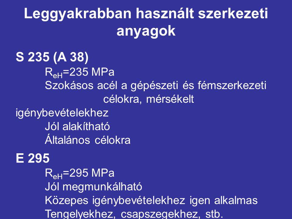 Leggyakrabban használt szerkezeti anyagok S 235 (A 38) R eH =235 MPa Szokásos acél a gépészeti és fémszerkezeti célokra, mérsékelt igénybevételekhez J