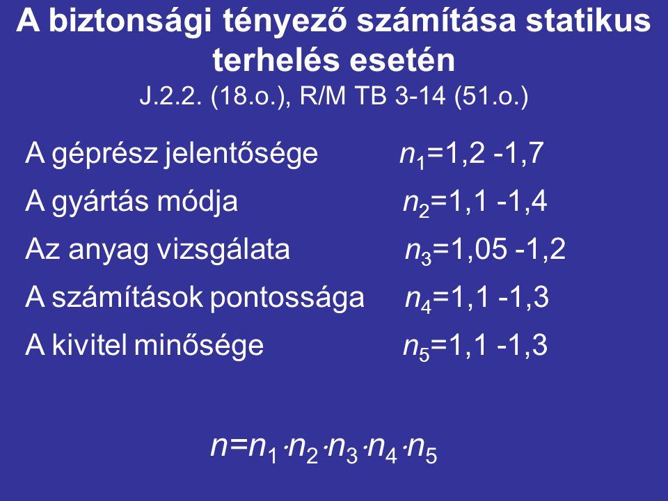 A biztonsági tényező számítása statikus terhelés esetén J.2.2. (18.o.), R/M TB 3-14 (51.o.) A géprész jelentősége n 1 =1,2 -1,7 A gyártás módja n 2 =1