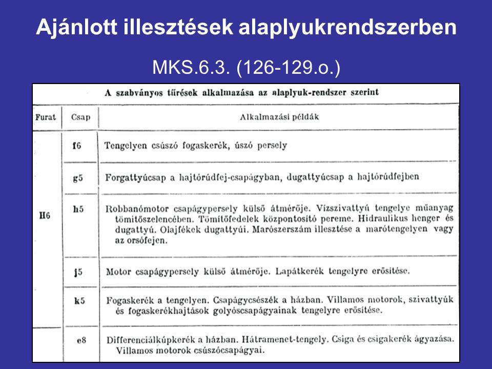Ajánlott illesztések alaplyukrendszerben MKS.6.3. (126-129.o.)