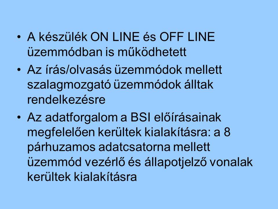A készülék ON LINE és OFF LINE üzemmódban is működhetett Az írás/olvasás üzemmódok mellett szalagmozgató üzemmódok álltak rendelkezésre Az adatforgalo