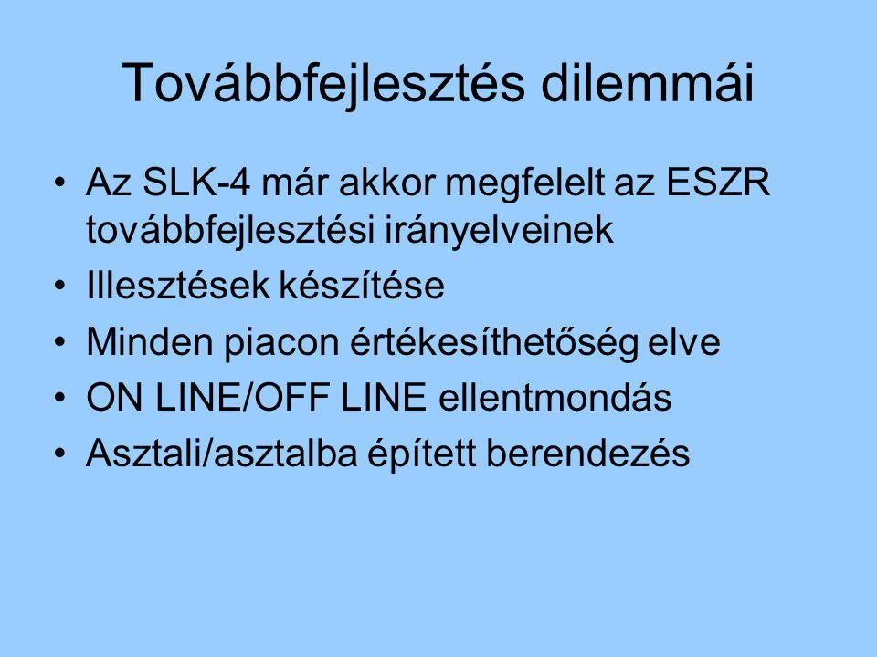 Továbbfejlesztés dilemmái Az SLK-4 már akkor megfelelt az ESZR továbbfejlesztési irányelveinek Illesztések készítése Minden piacon értékesíthetőség el