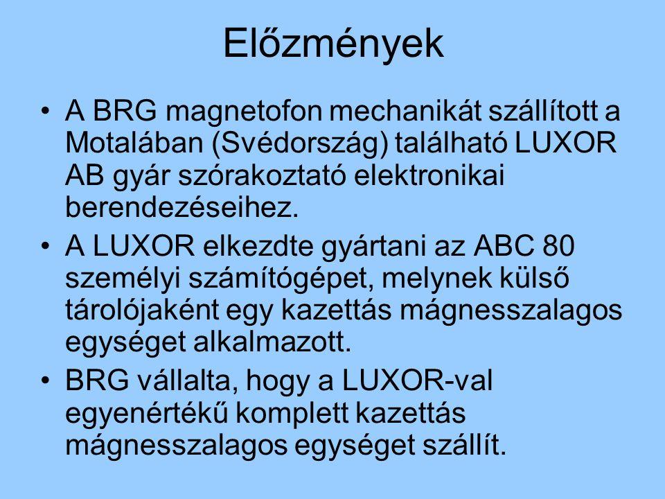 Előzmények A BRG magnetofon mechanikát szállított a Motalában (Svédország) található LUXOR AB gyár szórakoztató elektronikai berendezéseihez. A LUXOR
