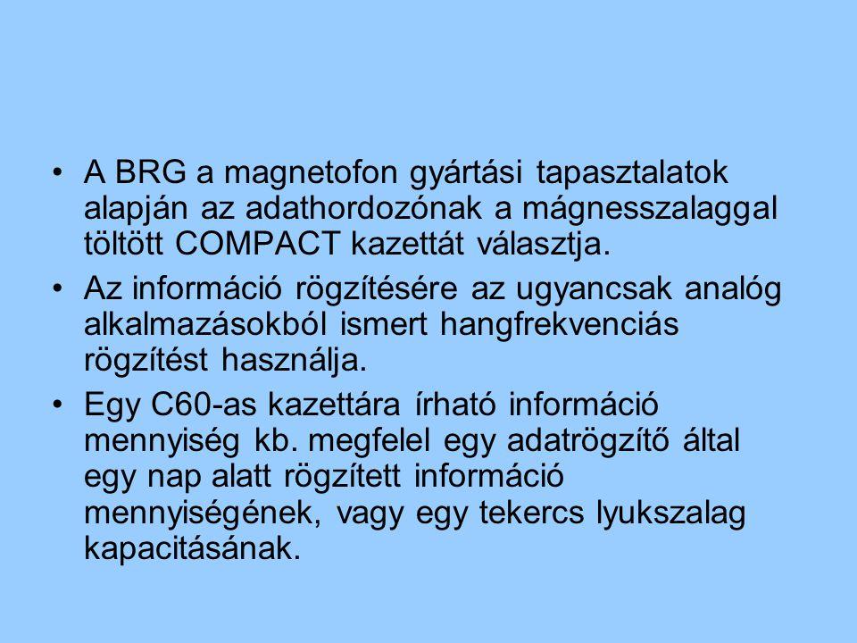 A BRG a magnetofon gyártási tapasztalatok alapján az adathordozónak a mágnesszalaggal töltött COMPACT kazettát választja. Az információ rögzítésére az