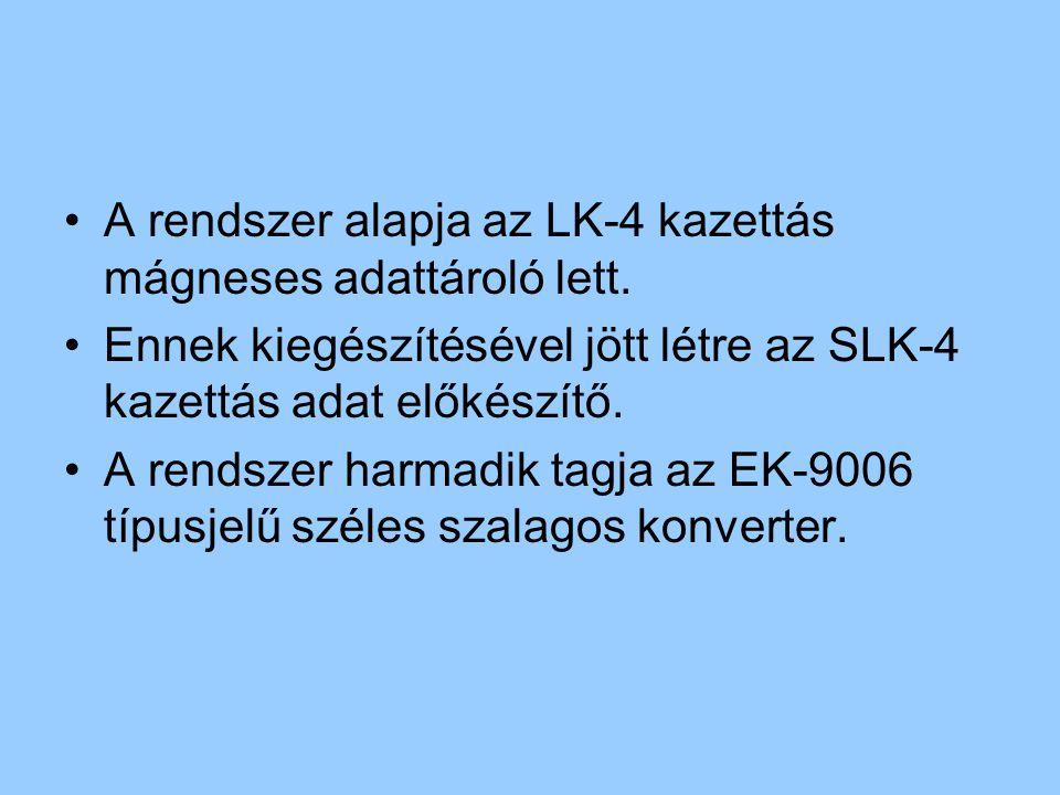 A rendszer alapja az LK-4 kazettás mágneses adattároló lett. Ennek kiegészítésével jött létre az SLK-4 kazettás adat előkészítő. A rendszer harmadik t