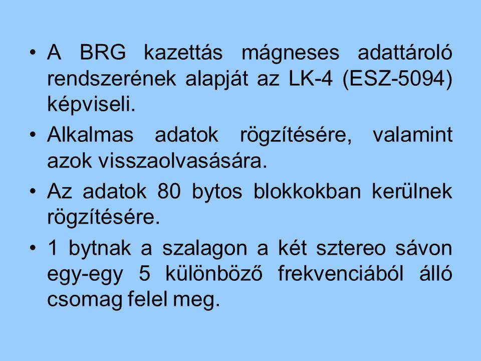 A BRG kazettás mágneses adattároló rendszerének alapját az LK-4 (ESZ-5094) képviseli. Alkalmas adatok rögzítésére, valamint azok visszaolvasására. Az