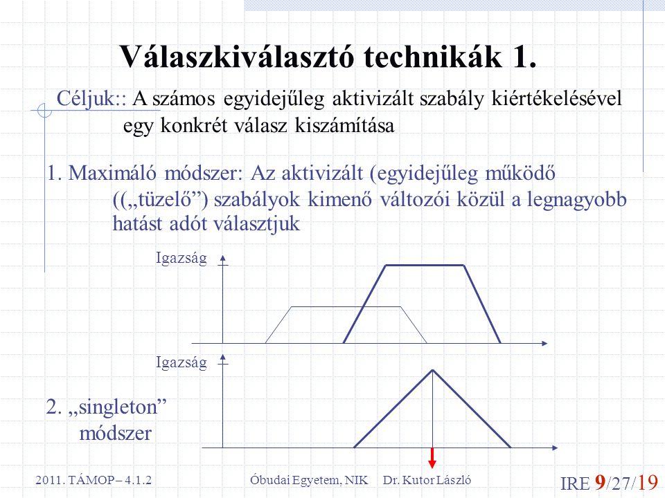 IRE 9 /27/ 19 Óbudai Egyetem, NIK Dr. Kutor László2011. TÁMOP – 4.1.2 Válaszkiválasztó technikák 1. Céljuk:: A számos egyidejűleg aktivizált szabály k