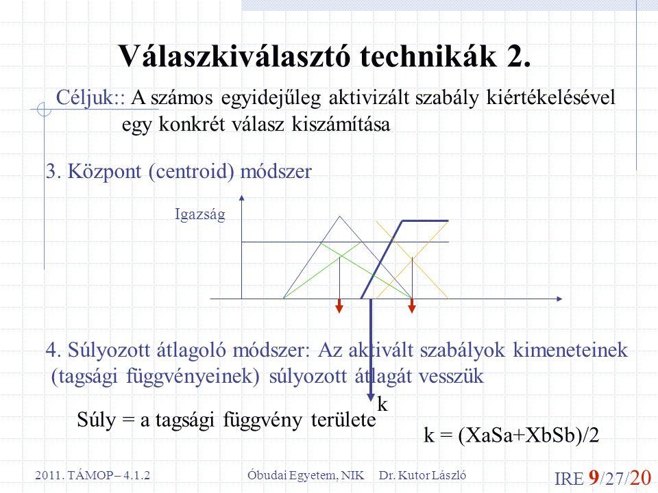 IRE 9 /27/ 20 Óbudai Egyetem, NIK Dr. Kutor László2011. TÁMOP – 4.1.2 Válaszkiválasztó technikák 2. Céljuk:: A számos egyidejűleg aktivizált szabály k