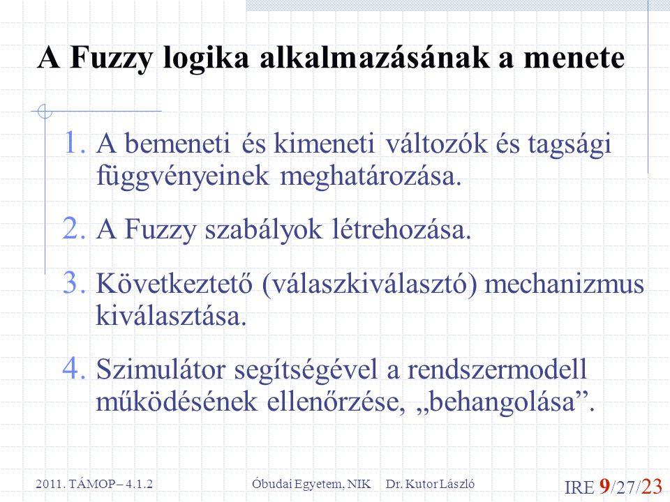 IRE 9 /27/ 23 Óbudai Egyetem, NIK Dr. Kutor László2011. TÁMOP – 4.1.2 A Fuzzy logika alkalmazásának a menete 1. A bemeneti és kimeneti változók és tag