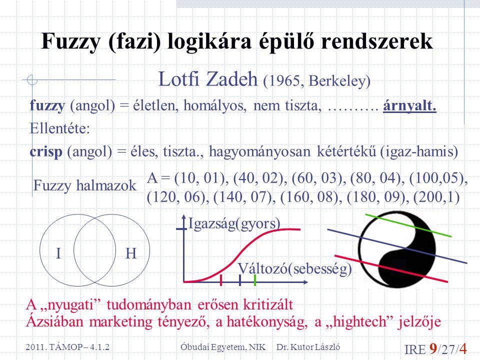 IRE 9 /27/ 4 Óbudai Egyetem, NIK Dr. Kutor László2011. TÁMOP – 4.1.2 Fuzzy (fazi) logikára épülő rendszerek Lotfi Zadeh (1965, Berkeley) fuzzy (angol)