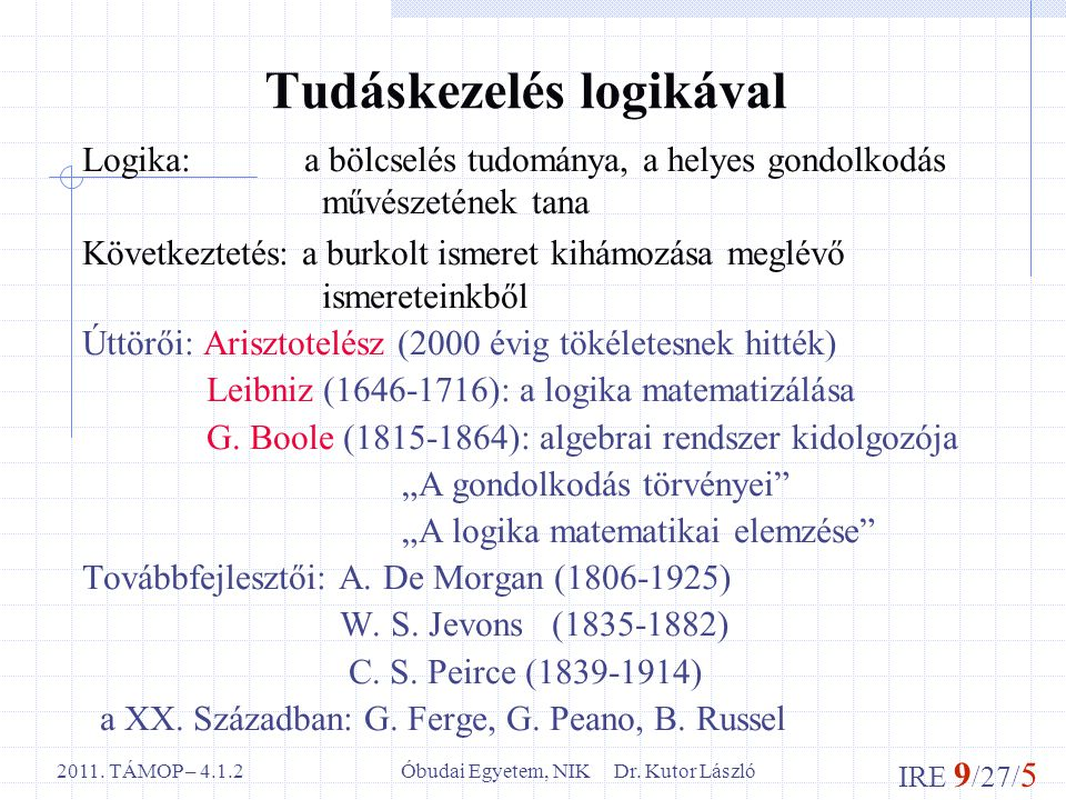 IRE 9 /27/ 5 Óbudai Egyetem, NIK Dr. Kutor László2011. TÁMOP – 4.1.2 Tudáskezelés logikával Logika: a bölcselés tudománya, a helyes gondolkodás művész