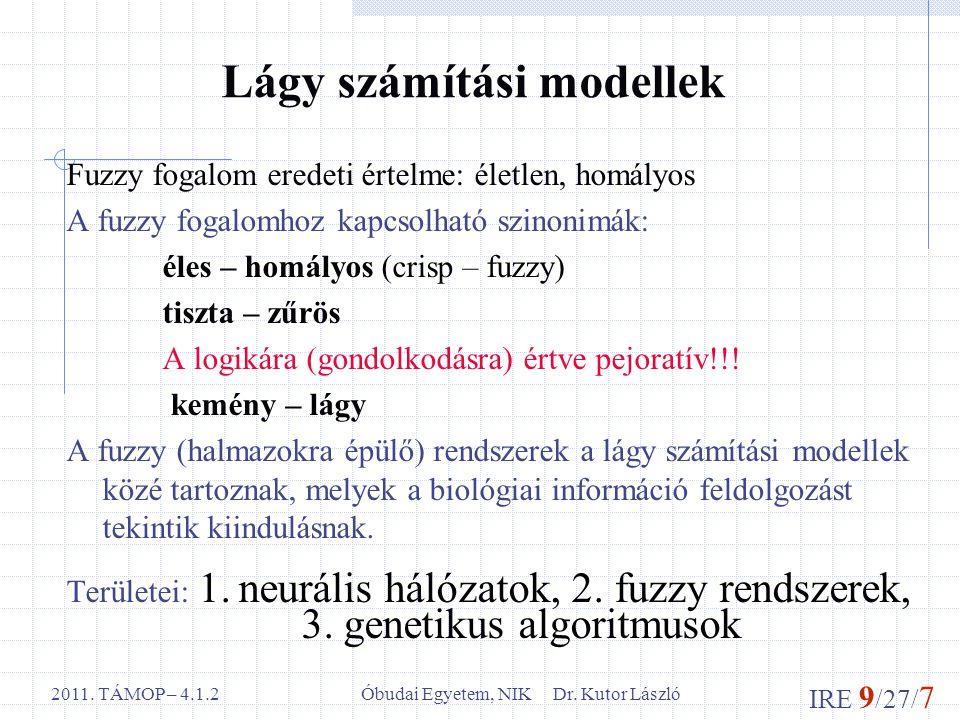 IRE 9 /27/ 7 Óbudai Egyetem, NIK Dr. Kutor László2011. TÁMOP – 4.1.2 Lágy számítási modellek Fuzzy fogalom eredeti értelme: életlen, homályos A fuzzy