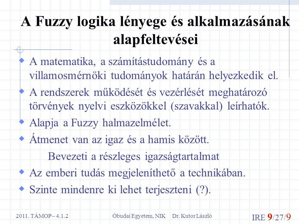 IRE 9 /27/ 9 Óbudai Egyetem, NIK Dr. Kutor László2011. TÁMOP – 4.1.2 A Fuzzy logika lényege és alkalmazásának alapfeltevései  A matematika, a számítá