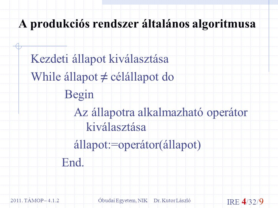 IRE 4 /32/ 9 Óbudai Egyetem, NIK Dr. Kutor László2011.