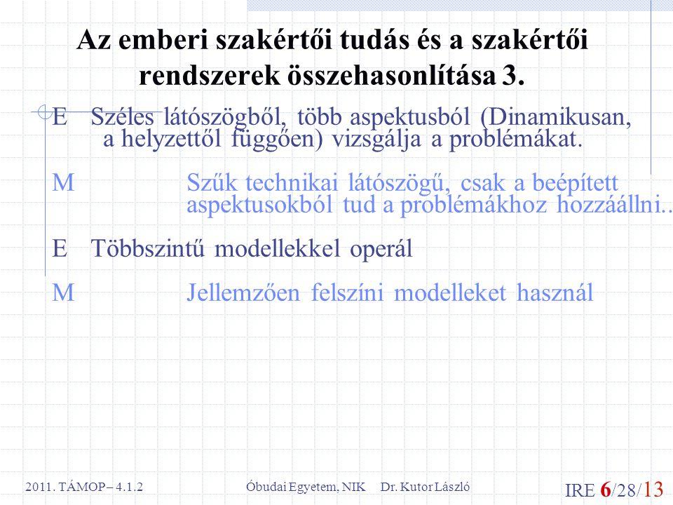 IRE 6 /28/ 13 Óbudai Egyetem, NIK Dr. Kutor László2011. TÁMOP – 4.1.2 Az emberi szakértői tudás és a szakértői rendszerek összehasonlítása 3. E Széles