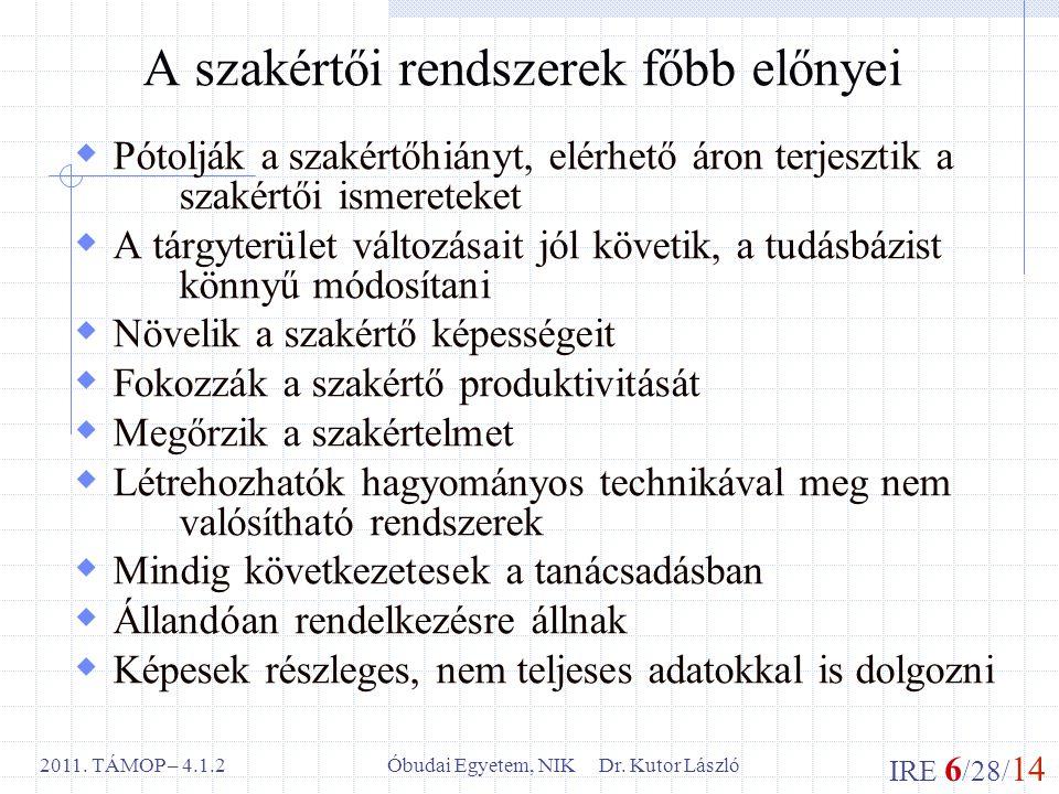 IRE 6 /28/ 14 Óbudai Egyetem, NIK Dr. Kutor László2011. TÁMOP – 4.1.2 A szakértői rendszerek főbb előnyei  Pótolják a szakértőhiányt, elérhető áron t