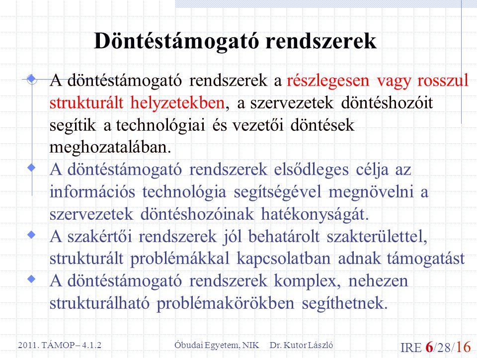 IRE 6 /28/ 16 Óbudai Egyetem, NIK Dr. Kutor László2011.