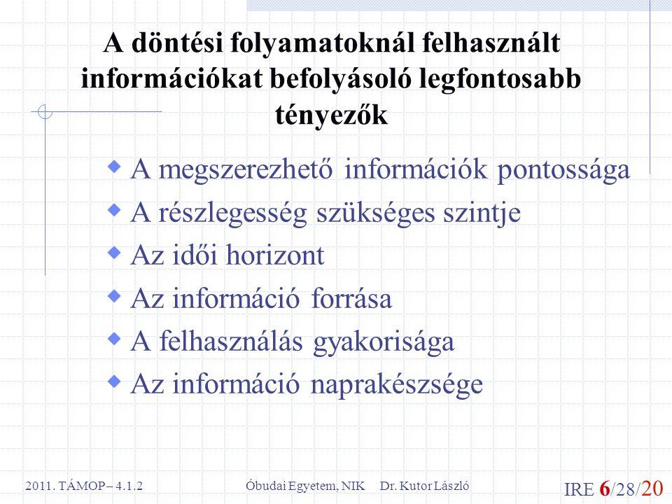IRE 6 /28/ 20 Óbudai Egyetem, NIK Dr. Kutor László2011. TÁMOP – 4.1.2 A döntési folyamatoknál felhasznált információkat befolyásoló legfontosabb ténye