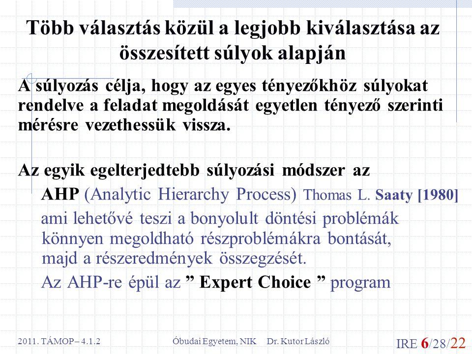 IRE 6 /28/ 22 Óbudai Egyetem, NIK Dr. Kutor László2011. TÁMOP – 4.1.2 Több választás közül a legjobb kiválasztása az összesített súlyok alapján A súly