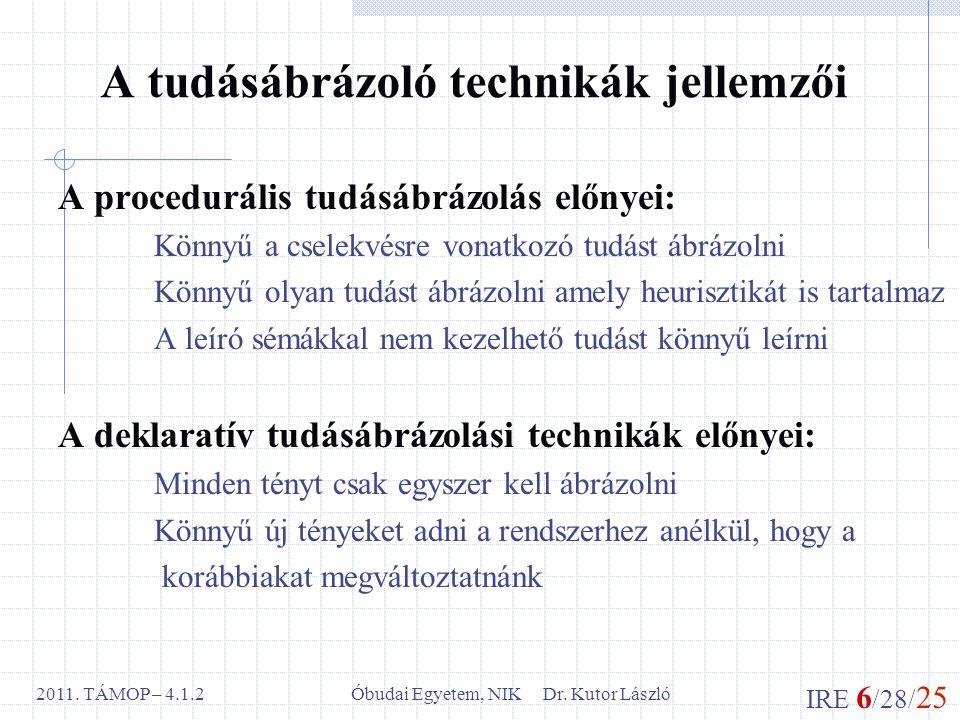 IRE 6 /28/ 25 Óbudai Egyetem, NIK Dr. Kutor László2011. TÁMOP – 4.1.2 A tudásábrázoló technikák jellemzői A procedurális tudásábrázolás előnyei: Könny
