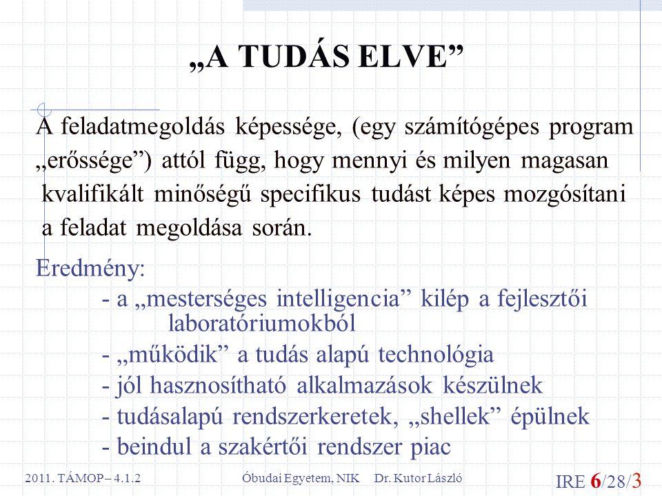 """IRE 6 /28/ 3 Óbudai Egyetem, NIK Dr. Kutor László2011. TÁMOP – 4.1.2 """"A TUDÁS ELVE"""" A feladatmegoldás képessége, (egy számítógépes program """"erőssége"""")"""