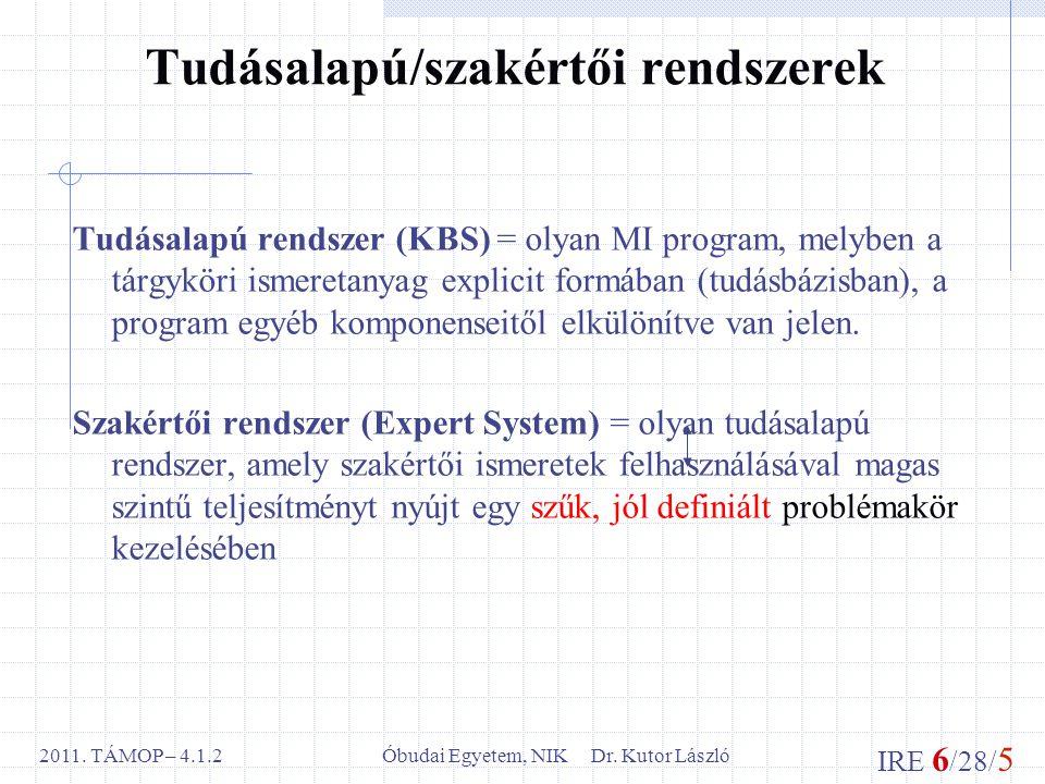 IRE 6 /28/ 5 Óbudai Egyetem, NIK Dr. Kutor László2011. TÁMOP – 4.1.2 Tudásalapú/szakértői rendszerek Tudásalapú rendszer (KBS) = olyan MI program, mel