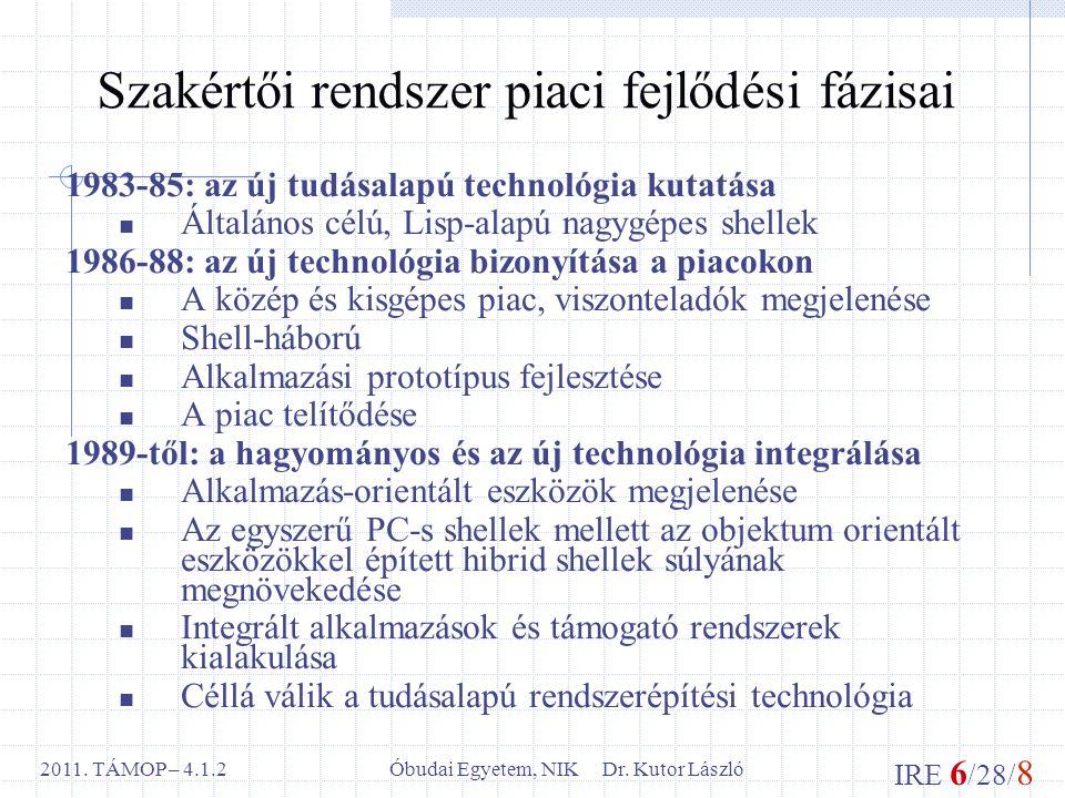 IRE 6 /28/ 8 Óbudai Egyetem, NIK Dr. Kutor László2011. TÁMOP – 4.1.2 Szakértői rendszer piaci fejlődési fázisai 1983-85: az új tudásalapú technológia