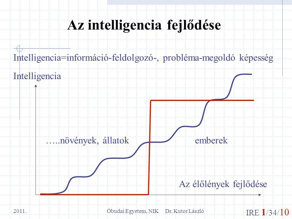 IRE 1 /34/ 10 Óbudai Egyetem, NIK Dr. Kutor László 2011. Az intelligencia fejlődése Intelligencia=információ-feldolgozó-, probléma-megoldó képesség Az