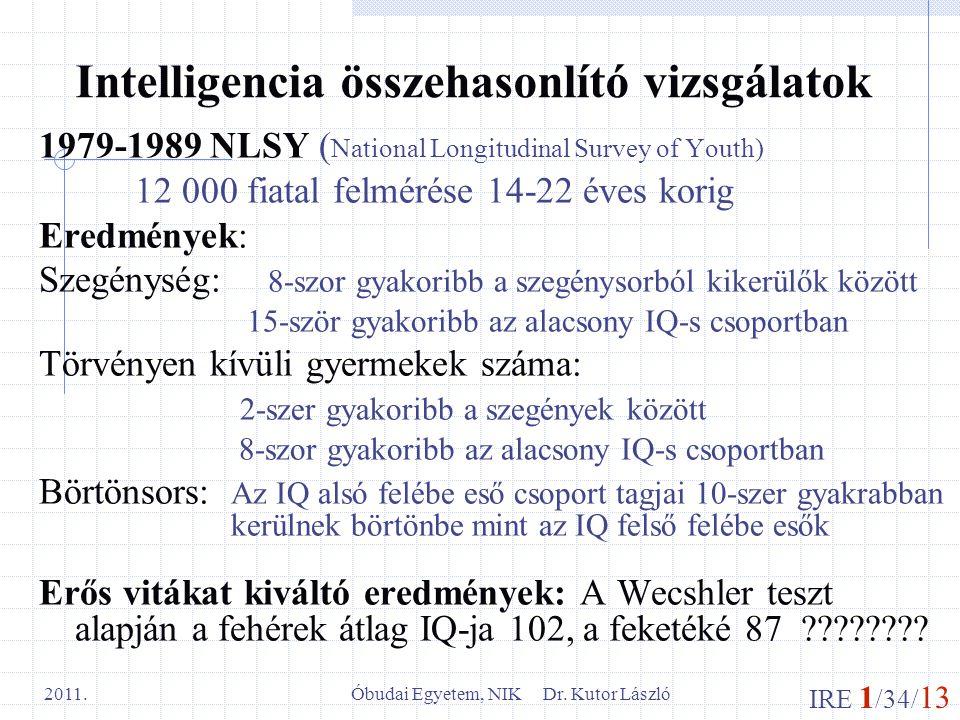 IRE 1 /34/ 13 Óbudai Egyetem, NIK Dr. Kutor László 2011. Intelligencia összehasonlító vizsgálatok 1979-1989 NLSY ( National Longitudinal Survey of You