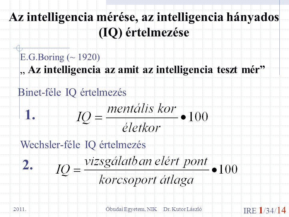 IRE 1 /34/ 14 Óbudai Egyetem, NIK Dr. Kutor László 2011. Az intelligencia mérése, az intelligencia hányados (IQ) értelmezése Binet-féle IQ értelmezés