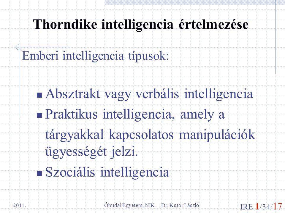 IRE 1 /34/ 17 Óbudai Egyetem, NIK Dr. Kutor László 2011. Thorndike intelligencia értelmezése Emberi intelligencia típusok: Absztrakt vagy verbális int