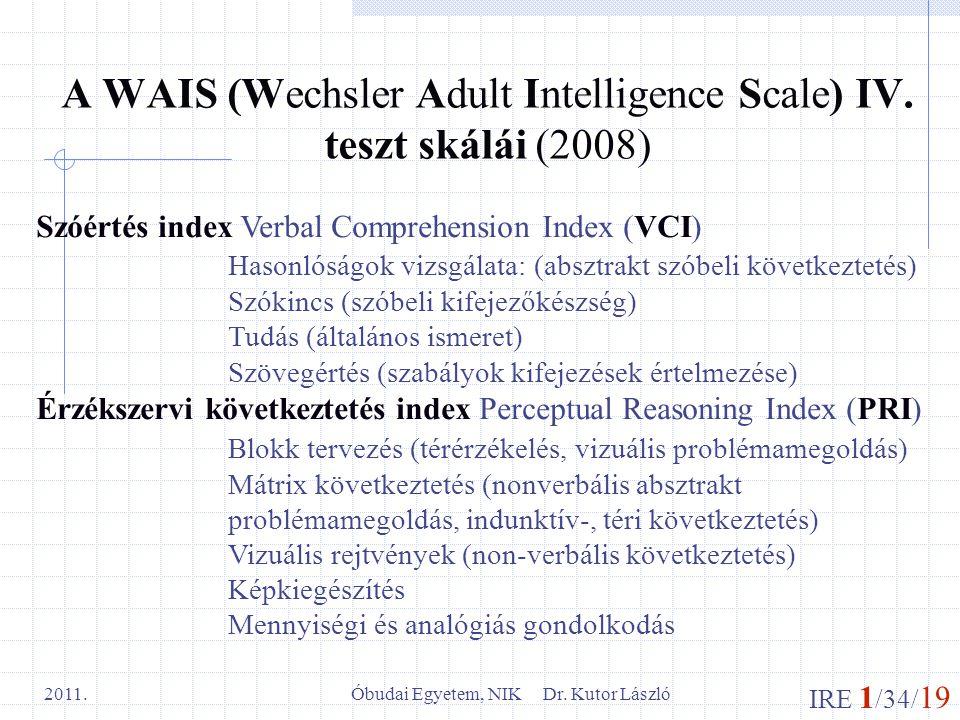 IRE 1 /34/ 19 Óbudai Egyetem, NIK Dr. Kutor László 2011. A WAIS (Wechsler Adult Intelligence Scale) IV. teszt skálái (2008) Szóértés index Verbal Comp
