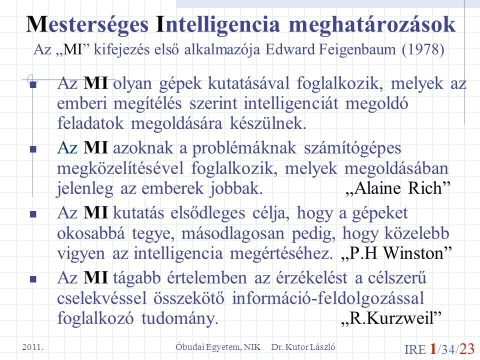 IRE 1 /34/ 23 Óbudai Egyetem, NIK Dr. Kutor László 2011. Mesterséges Intelligencia meghatározások Az MI olyan gépek kutatásával foglalkozik, melyek az