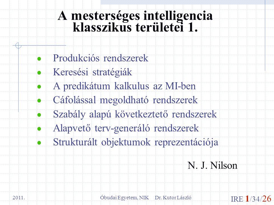 IRE 1 /34/ 26 Óbudai Egyetem, NIK Dr. Kutor László 2011. A mesterséges intelligencia klasszikus területei 1. Produkciós rendszerek Keresési stratégiák
