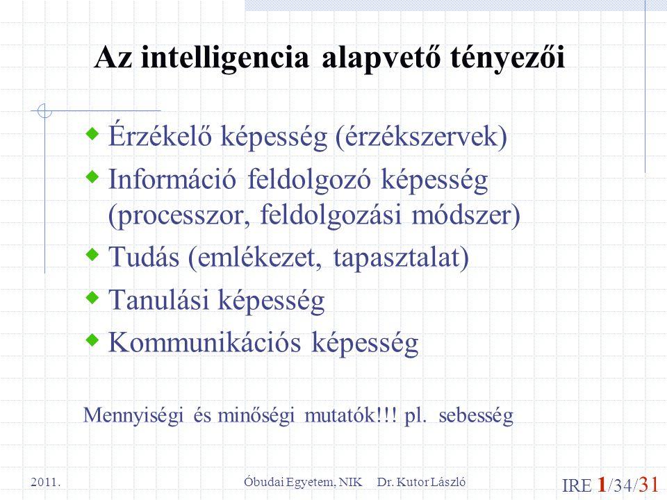 IRE 1 /34/ 31 Óbudai Egyetem, NIK Dr. Kutor László 2011. Az intelligencia alapvető tényezői  Érzékelő képesség (érzékszervek)  Információ feldolgozó