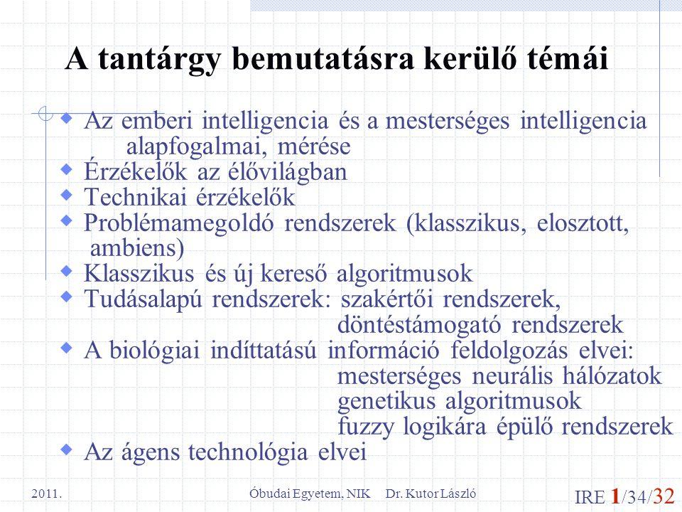 IRE 1 /34/ 32 Óbudai Egyetem, NIK Dr. Kutor László 2011. A tantárgy bemutatásra kerülő témái  Az emberi intelligencia és a mesterséges intelligencia