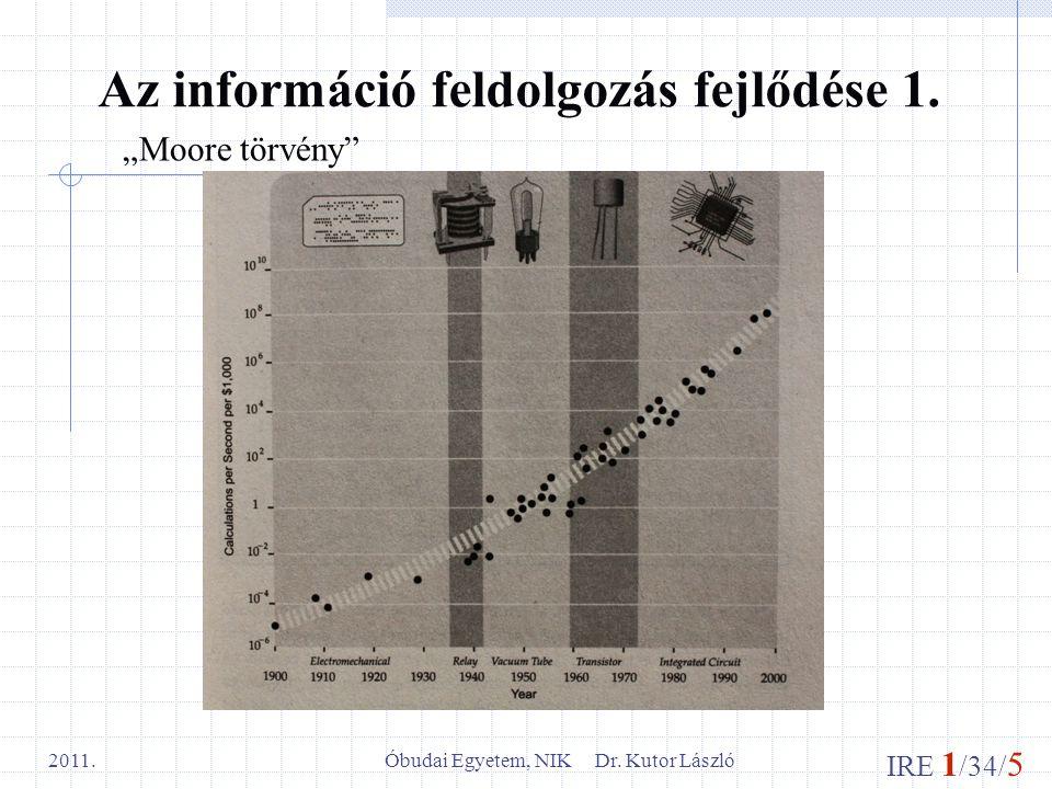 """IRE 1 /34/ 5 Óbudai Egyetem, NIK Dr. Kutor László 2011. Az információ feldolgozás fejlődése 1. """"Moore törvény"""""""