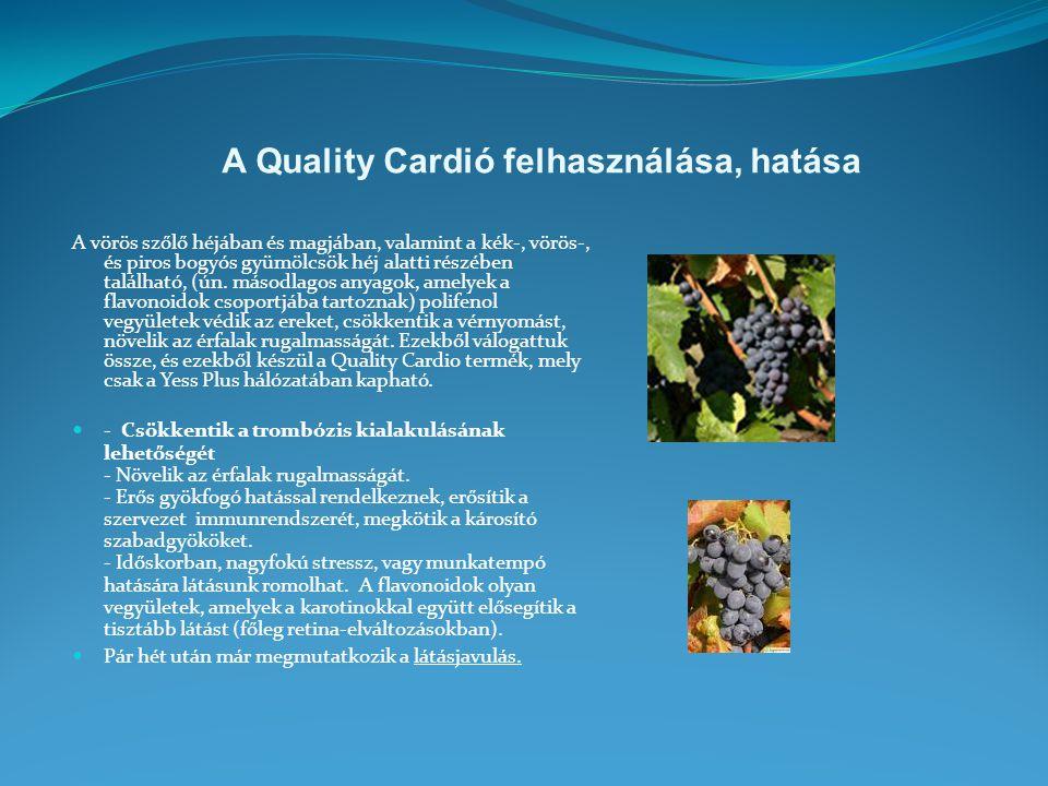 A Quality Cardió felhasználása, hatása A vörös szőlő héjában és magjában, valamint a kék-, vörös-, és piros bogyós gyümölcsök héj alatti részében található, (ún.