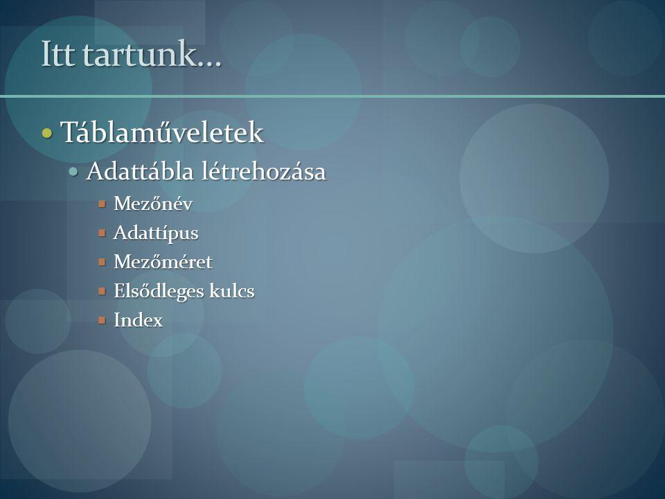Itt tartunk… Táblaműveletek Táblaműveletek Adattábla létrehozása Adattábla létrehozása  Mezőnév  Adattípus  Mezőméret  Elsődleges kulcs  Index