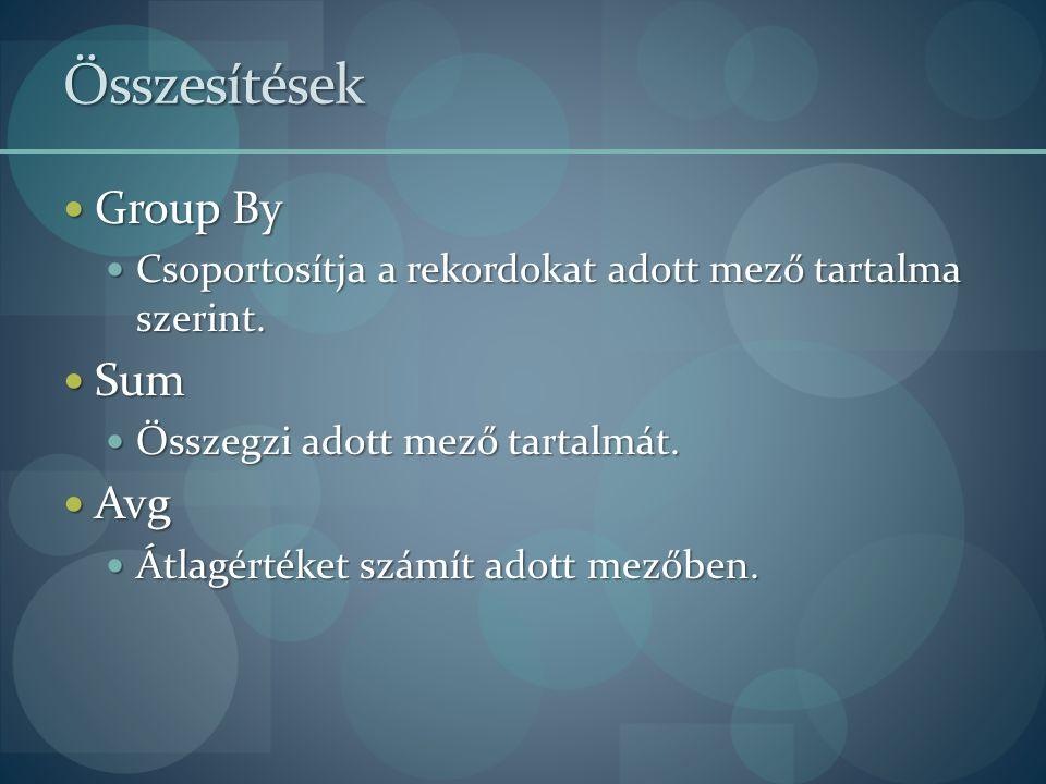 Összesítések Group By Group By Csoportosítja a rekordokat adott mező tartalma szerint. Csoportosítja a rekordokat adott mező tartalma szerint. Sum Sum