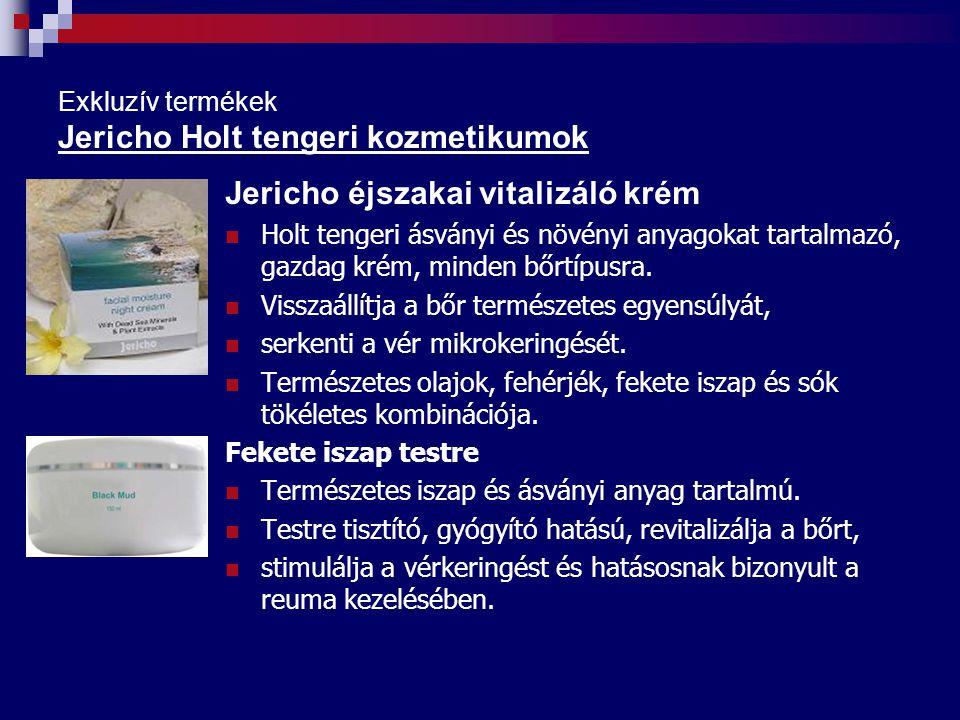 Exkluzív termékek Jericho Holt tengeri kozmetikumok Jericho éjszakai vitalizáló krém Holt tengeri ásványi és növényi anyagokat tartalmazó, gazdag krém, minden bőrtípusra.