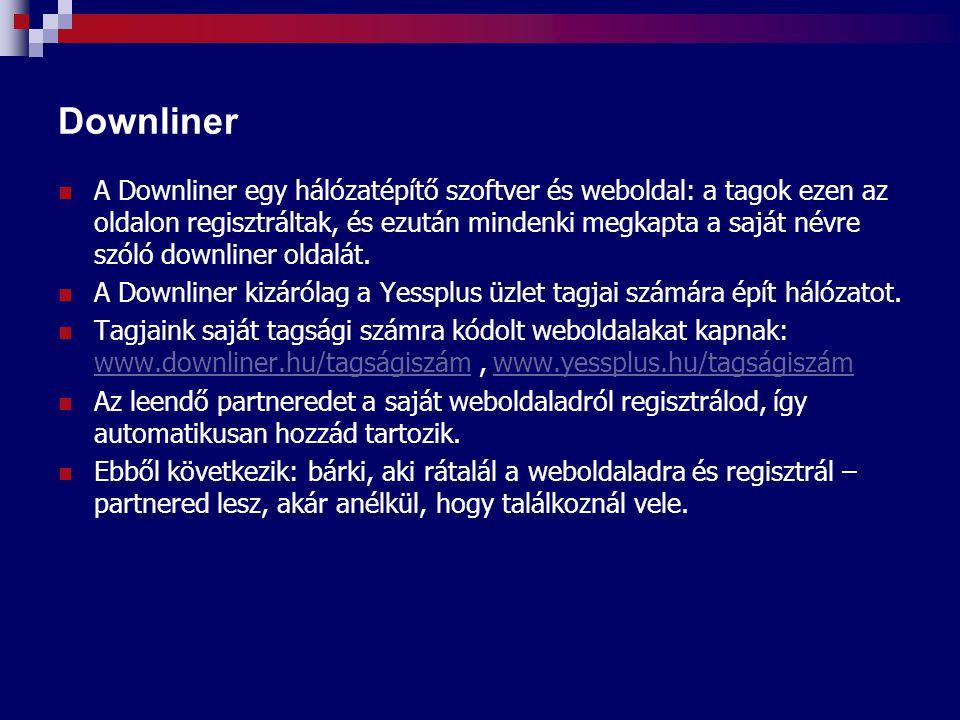 Downliner A Downliner egy hálózatépítő szoftver és weboldal: a tagok ezen az oldalon regisztráltak, és ezután mindenki megkapta a saját névre szóló downliner oldalát.